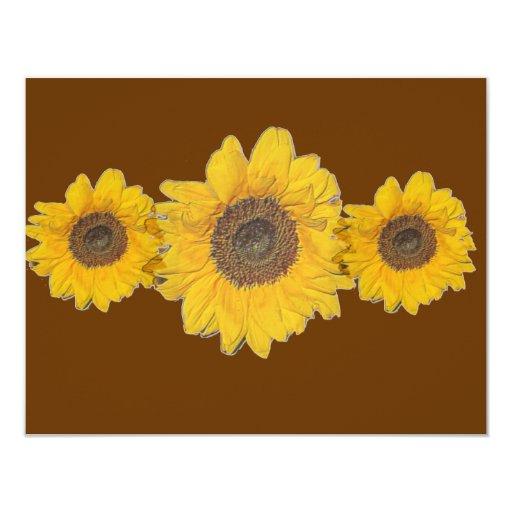 sunflower trio 11 cm x 14 cm invitation card