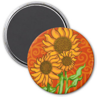 Sunflower Trio//Large Round Magnet