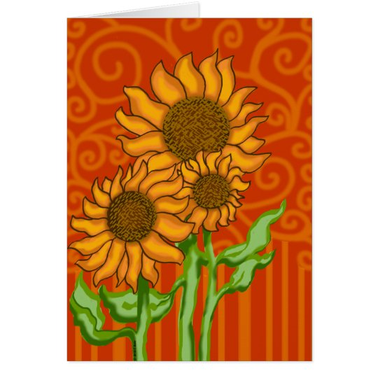 Sunflower Trio/Note Card with Envelope