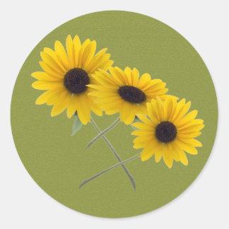 Sunflower Trio Round Sticker