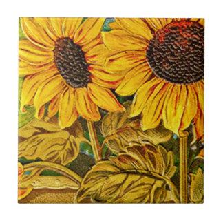 Sunflower Trivet Small Square Tile