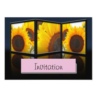 Sunflower Tryptych Party Announcement Invitation
