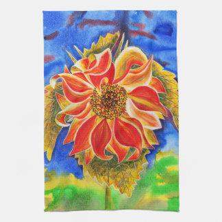 Sunflower under stormy sky kitchen/hand towel