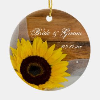 Sunflower Veil Wedding Bridesmaid Thank You Round Ceramic Decoration