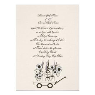 Sunflower Wagon Wedding Card