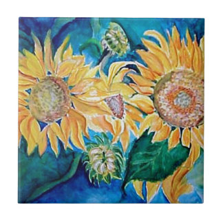 Sunflower Watercolor Art Tile