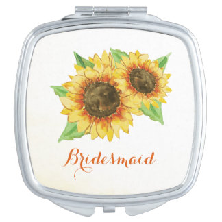 Sunflower Watercolor Compact Mirror