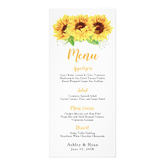 Sunflower Watercolor Floral Wedding Menu