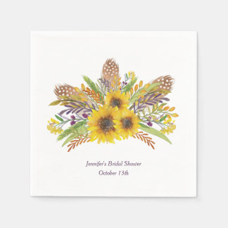 Sunflower Watercolor Personalized Napkins Paper Napkin