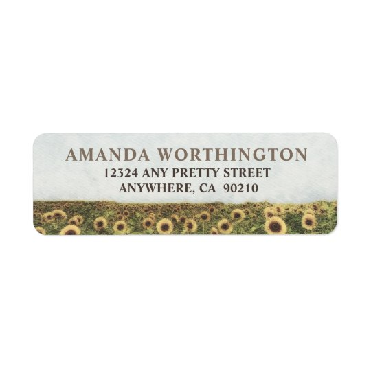 Sunflower Watercolor Rustic Wedding Address Labels