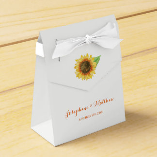 Sunflower Watercolor Wedding Favour Box