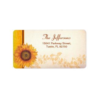 sunflower wedding address labels