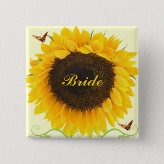Sunflower Wedding Badge Button for Wedding Party