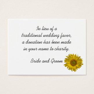 Sunflower Wedding Charity Favor Card