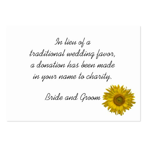 Sunflower Wedding Charity Favor Card Business Cards