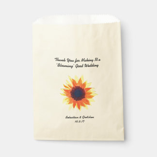 Sunflower Wedding Favor (Favour) Watercolour Favour Bags