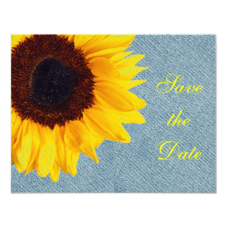 Sunflower Wedding Floral Country Yellow Rustic 4.25x5.5 Paper Invitation Card