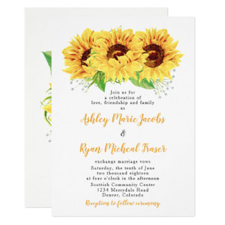 Sunflower Wedding Invitation Watercolor Floral