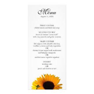 Sunflower Wedding Menu Personalised Rack Card
