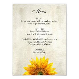 Sunflower wedding menu poster. Rustic dinner menu Photo Art