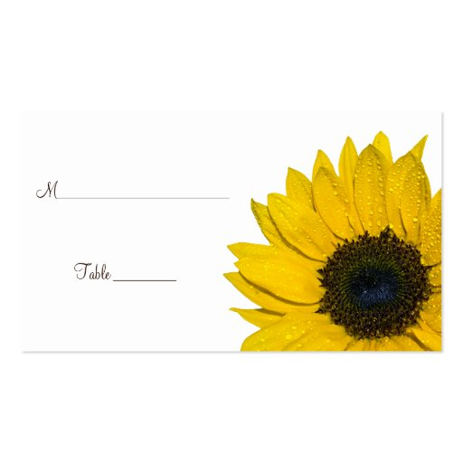 Sunflower Wedding or Special Occasion Place Cards Business Card Templates