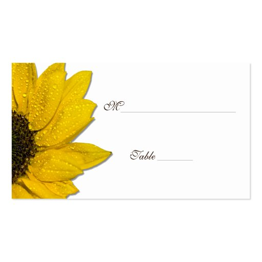 Sunflower Wedding or Special Occasion Place Cards Business Card Template