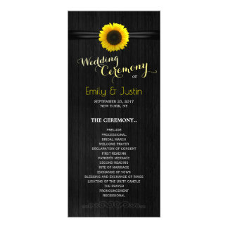 Sunflower wedding program card