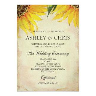 Sunflower Wedding Program - Vintage 13 Cm X 18 Cm Invitation Card