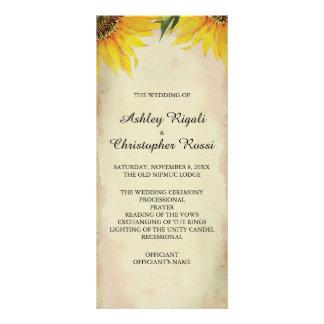 Sunflower Wedding Program - Vintage Rack Card