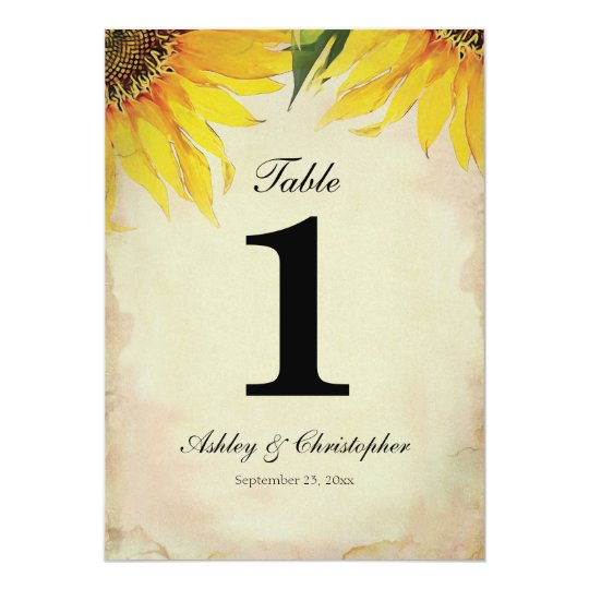 Sunflower Wedding Reception Table Number One Card