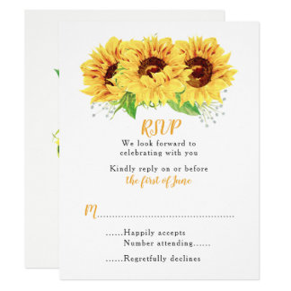Sunflower Wedding RSVP Card Watercolor Floral