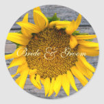 Sunflower Wedding  with post wood 1 Round Stickers