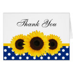 Sunflower White and Blue Polka Dot Thank You Greeting Cards