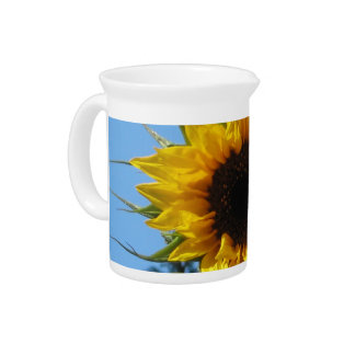Sunflower - White Porcelain Pitcher