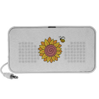 SUNFLOWER WITH A BUZZING BEE MP3 SPEAKERS
