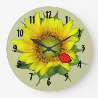 Sunflower with Ladybug Wall Clock