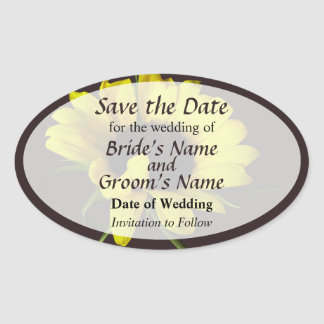 Sunflower With Naturally Curly Hair Save the Date Oval Sticker