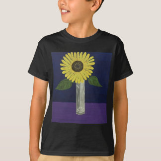 Sunflower with square vase still life tee shirt
