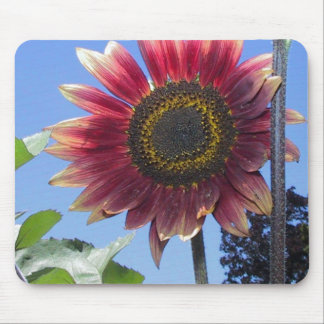 Sunflower with Unique Red Leaves Mouse Mat