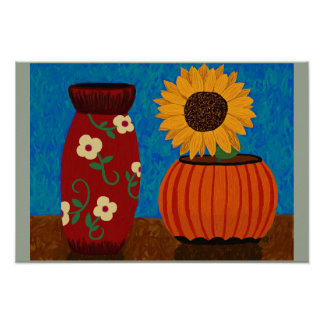 Sunflower with Vases Poster