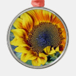 Sunflower with water droplets christmas ornaments