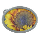 Sunflower with Water Droplets Oval Belt Buckle