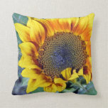Sunflower with water droplets pillow