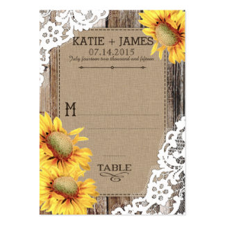 Sunflower Wood Lace Rustic Wedding Place Cards Pack Of Chubby Business Cards