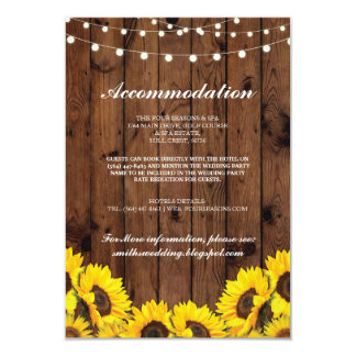 Sunflower Wood Rustic Accommodation Wedding Cards
