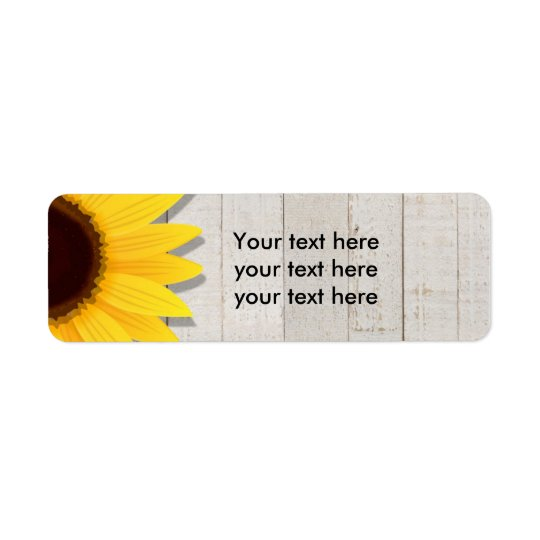Sunflower Wooden Rustic Country Address Labels