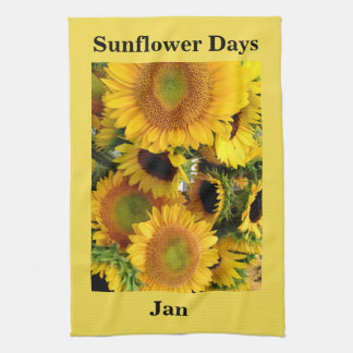 Sunflower Woven Yellow YOUR NAME PHRASE Gift Tea Towel