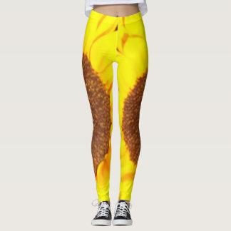 Sunflower Yellow Brown Floral Leggings