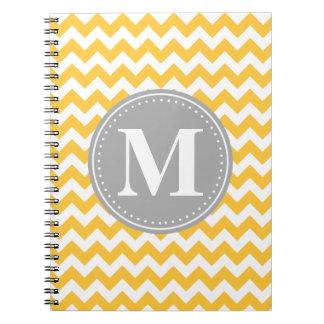 Sunflower Yellow Chevron Pattern Grey Monogram Notebook