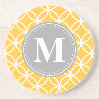Sunflower Yellow Geometric Circles Grey Monogram Coaster